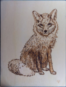 home decor Pyrography on wood fox