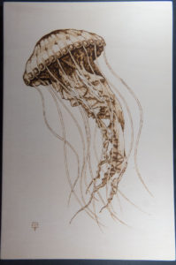 home decor Pyrography on wood jellyfish
