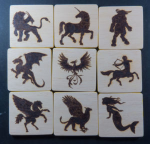 Pyrography on wood Game Memory mythological figures - Game for children