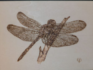 home decor Pyrography on wood dragonfly