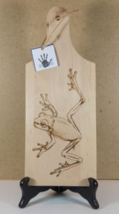 home decor Pyrography on wood frog