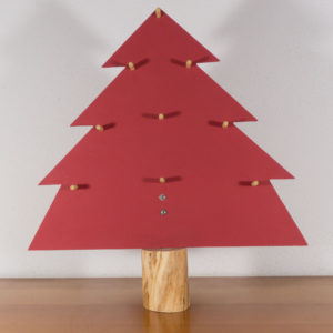 Wooden red Christmas tree