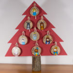 Hanging wooden nativity figurines