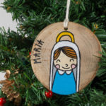 Hanging wooden nativity figurines Mary