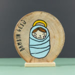 Wooden nativity figurines baby Jesus