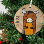 Hanging wooden nativity figurines Ox