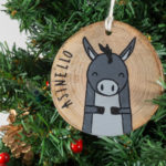 Hanging wooden nativity figurines Donkey