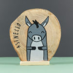 Wooden nativity figurines donkey